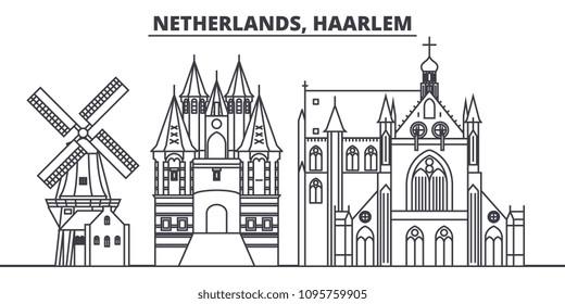 Netherlands, Haarlem line skyline vector illustration. Netherlands, Haarlem linear cityscape with famous landmarks, city sights, vector landscape.