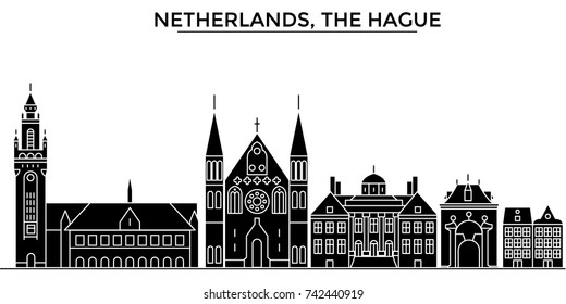 Netherlands, The Hague architecture vector city skyline, travel cityscape with landmarks, buildings, isolated sights on background