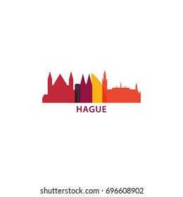 Netherlands The Hague city modern panorama landmark silhouette shape vector icon logo