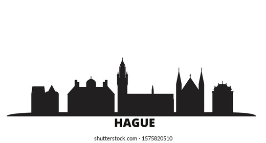 Netherlands, Hague city skyline isolated vector illustration. Netherlands, Hague travel black cityscape