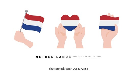 [netherlands] Hand and national flag icon vector illustration