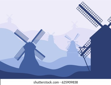 Netherlands, Holland. Dutch mills silhouettes on landscape fading hills background.