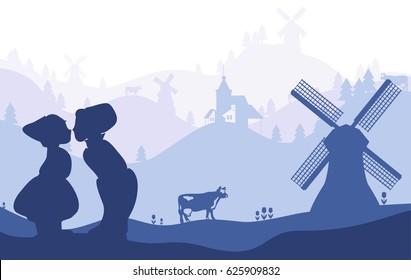 Netherlands, Holland. Dutch national symbols silhouettes on landscape fading background.