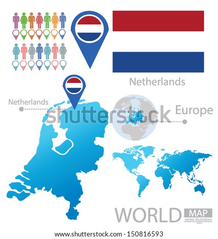 Netherlands Holland Flag World Map Vector Stock Vector Royalty Free