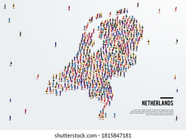 Netherlands or Holland Map. Large group of people form to create a shape of Netherlands Map. vector illustration.