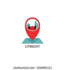 Netherlands Holland Utrecht map city pin point geolocation modern skyline shape pointer vector flat logo web icon illustration