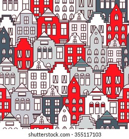 Netherlands houses set hand drawn seamless pattern. Doodle background vector. Wrapping with amsterdam houses, urban style design. Amsterdam panorama backdrop. Decorative wallpaper, good for printing