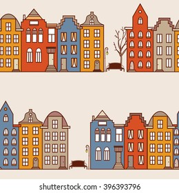 Netherlands houses set hand drawn seamless pattern. Colorful background vector. Wrapping with amsterdam houses, urban style design. Amsterdam panorama backdrop. Decorative wallpaper, good for printing