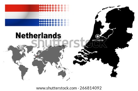 Netherlands Info Graphic Flag Location World Stock Vector (Royalty ...
