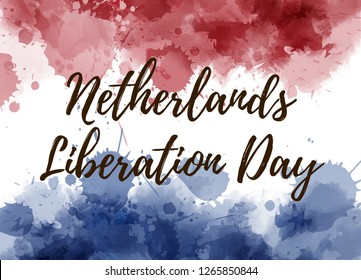 Netherlands Liberation day. Watercolor background with paint splashes in Netherlands flag colors.