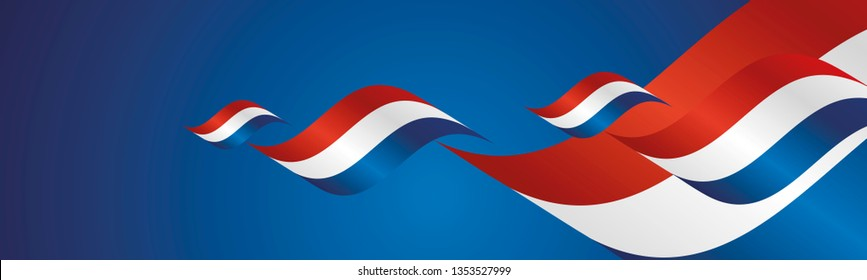 Netherlands Liberation Day waving flags two fold blue landscape background