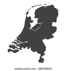 Netherlands map in black on a white background. Vector illustration