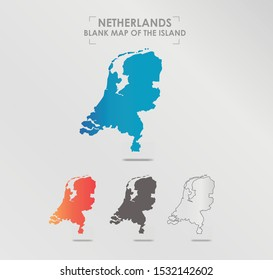 Netherlands map. Blank vector map of the Island. Borders of Netherlands for your infographic. Vector illustration.