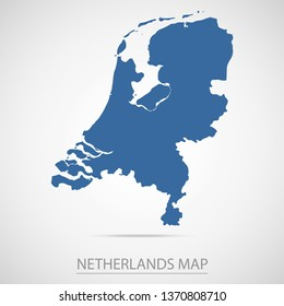 Netherlands map. Blue Netherlands map and Country name . Vector map on gray background.