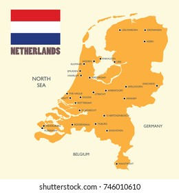 Netherlands map with english label. Vector illustration
