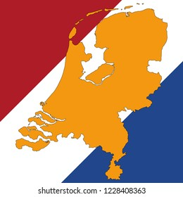 Netherlands Map And Netherlands Flag Vector