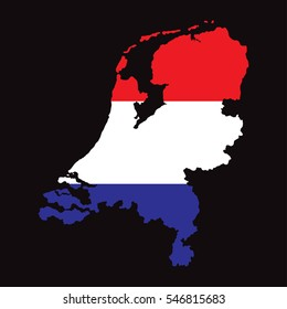 Netherlands Map with Flag Vector