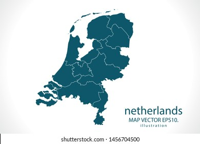 netherlands map High Detailed on white background. Abstract design vector illustration eps 10