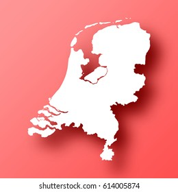 Netherlands Map isolated on red background with shadow. High detailed vector map.  Template for your design, website, infographic, brochure, cover, business annual report,...