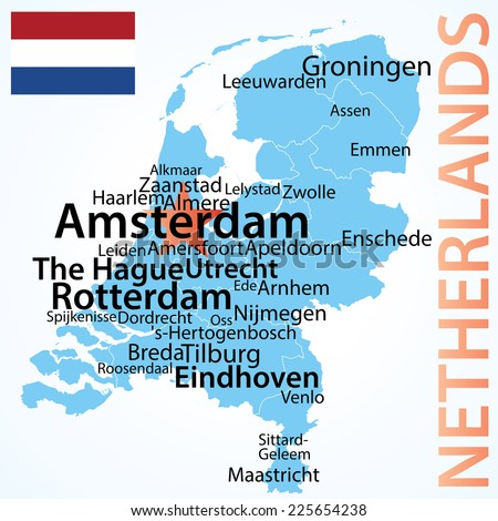 Netherlands Map Largest Cities Carefully Scaled Stock Vector ...