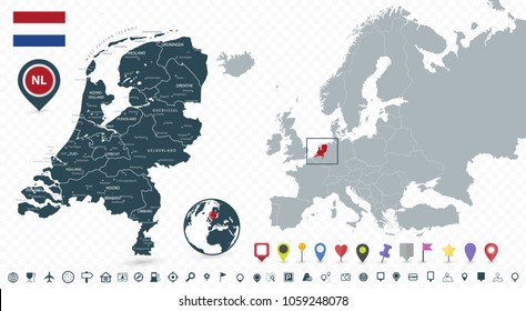 Netherlands Map and Netherlands location on the Europe map isolated on transparent background. Highly detailed vector illustration of map.