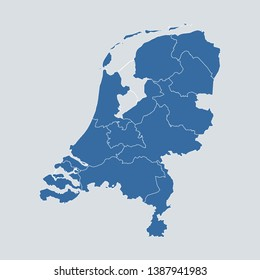 Netherlands map on gray background vector, Netherlands Map Outline Shape Blue on White Vector Illustration, High detailed Gray illustration map Netherlands. Symbol for your web site design map logo.