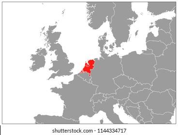 Netherlands map on gray base