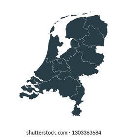 Netherlands map on White background vector, Netherlands Map Outline Shape Gray on White Vector Illustration, High detailed Gray illustration map Netherlands.