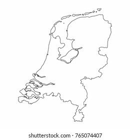 Netherlands map outline graphic freehand drawing on white background. Vector illustration