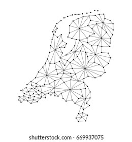 Netherlands map of polygonal mosaic lines network, rays and dots of vector illustration.