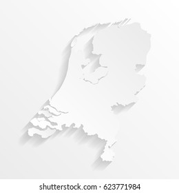 Netherlands Map with shadow. Cut paper isolated on a white background. Vector illustration.