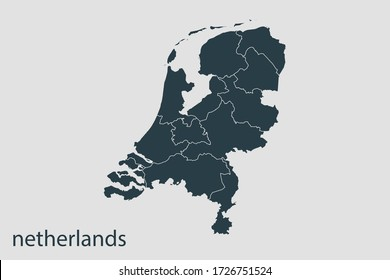 Netherlands map vector, Abstract design vector illustration Eps 10. Navy color.High Detailed on white background.