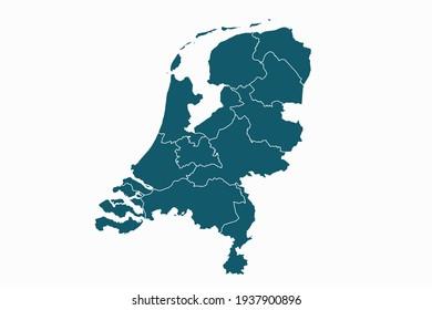 Netherlands map vector. blue color on white background.