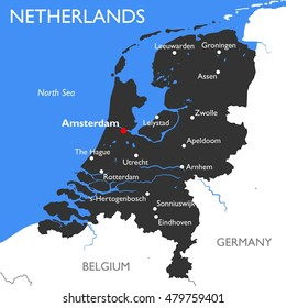 Netherlands map | Vector detailed color Netherlands map