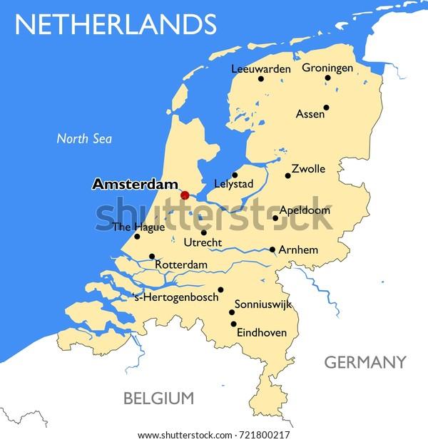 Netherlands Map Vector Detailed Color Netherlands Stock ...
