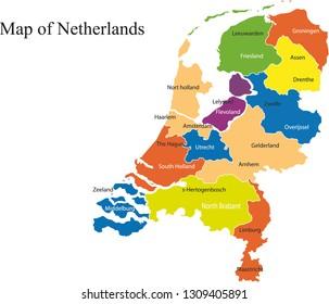 Netherlands map vector illustration, netherlands map