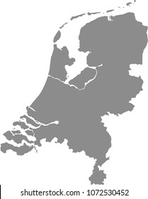 Netherlands map vector outline illustration gray background. Highly detailed accurate map of Holland prepared by a map expert.