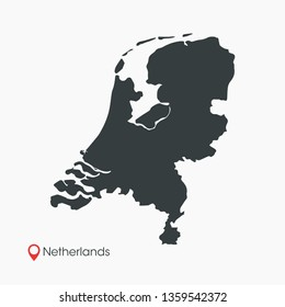 Netherlands Map Vector Template Isolated