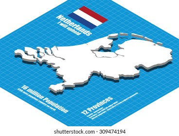 Netherlands map vector three dimensional