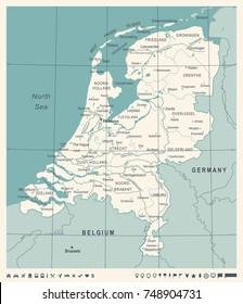 Netherlands Map - Vintage Detailed Vector Illustration