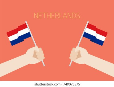 Netherlands National Day with Hands Holding Up Netherlands Flags. Vector illustration