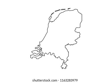 Netherlands outline map national borders country shape