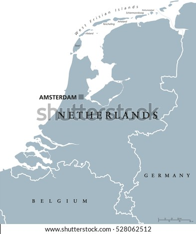 Netherlands Political Map Capital Amsterdam Holland Stock ...