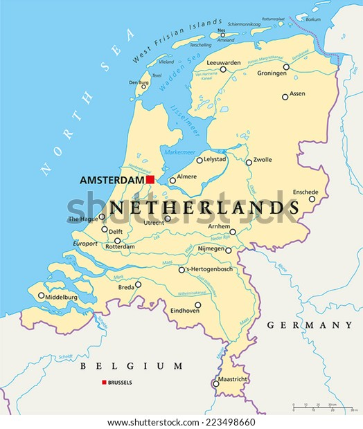 Map Of Germany And The Netherlands.Netherlands Political Map Capital Amsterdam National Stock Vector
