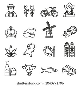 netherlands symbols and dutch culture icons set on white background. Line Style stock vector.