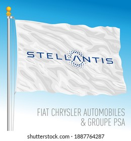 Netherlands, Year 2021, Stellantis car group flag, PSA and FCA fusion of industries, vector illustration