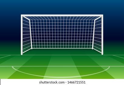 Netting goalposts soccer goal. Vector football goal on gridiron field grass, soccer gate illustration