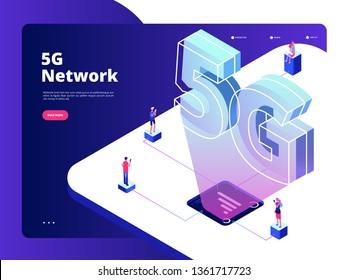 Network 5g. Wireless data transmission 5g technology internet speed broadband five hotspots wifi global networking landing vector page