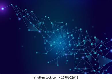 Network abstract connection isolated on blue background. Network technology background with dots and lines for backdrop and ai design.Modern abstract concept. Vector illustration of network technology