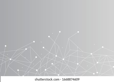Network abstract connection isolated on gray background. Network technology background with dots and lines for backdrop and ai design. Modern abstract concept.Vector illustration of network technology